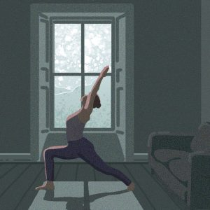 Yoga at home- Digital Illustration by Claire Huntley